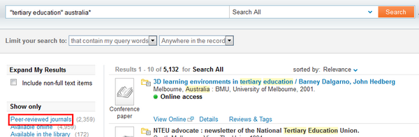The Peer-review limiter in Primo Search is in the left hand column, at the top
