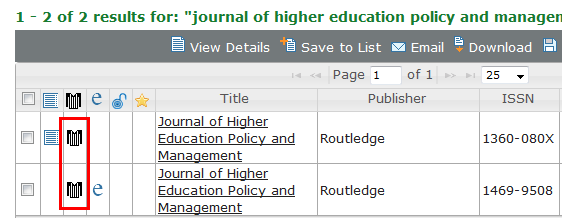 The peer-review symbol appears in search results in the Ulricsweb database in the second column from the left