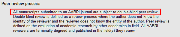 Publisher information from a journal website states that all manuscripts are subject to double-blind peer review