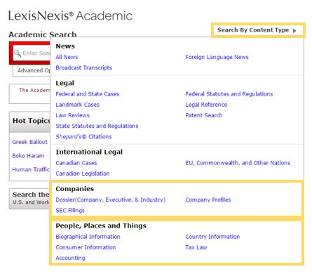 screenshot for how to search lexis nexis