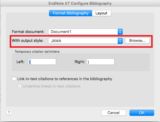 configure bibliography dialog box on a mac