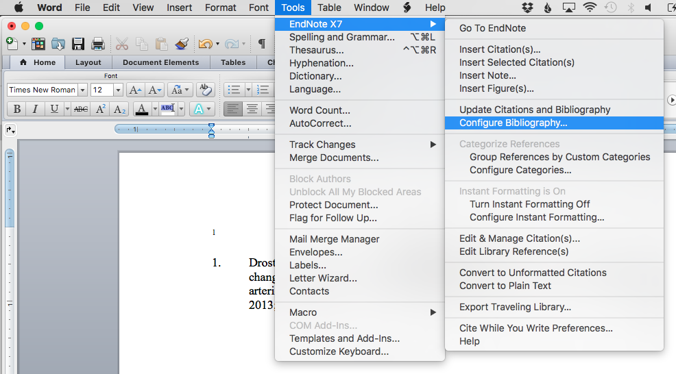 Finding configure bibliography on a mac