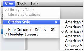 View tab with citation style menu selected