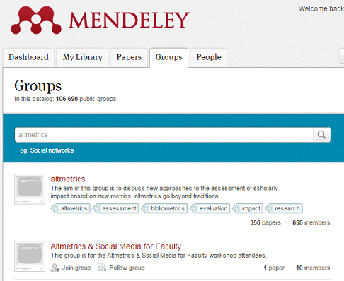 screenshot of mendeley groups