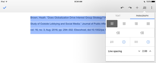 how do i create a hanging indent in google docs on my ipad