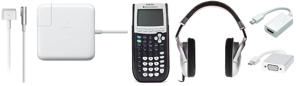 Macbook charger, headphones, adapters, calculator