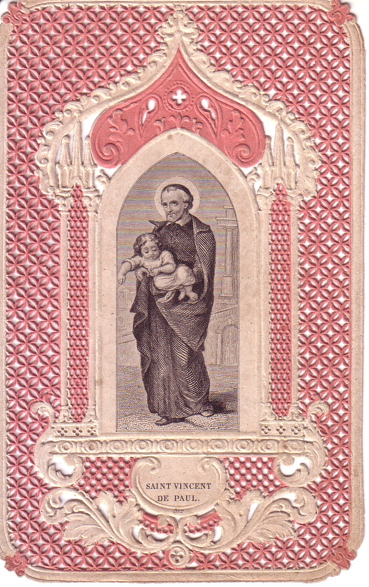 Saint Vincent de Paul with Foundling Mid-nineteenth century canivet c. 1860, Paris
