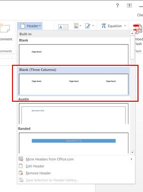 Header drop down box with three columns selected