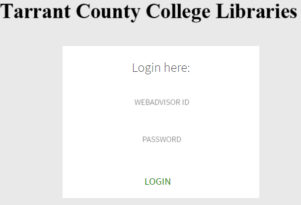 Screenshot of login page