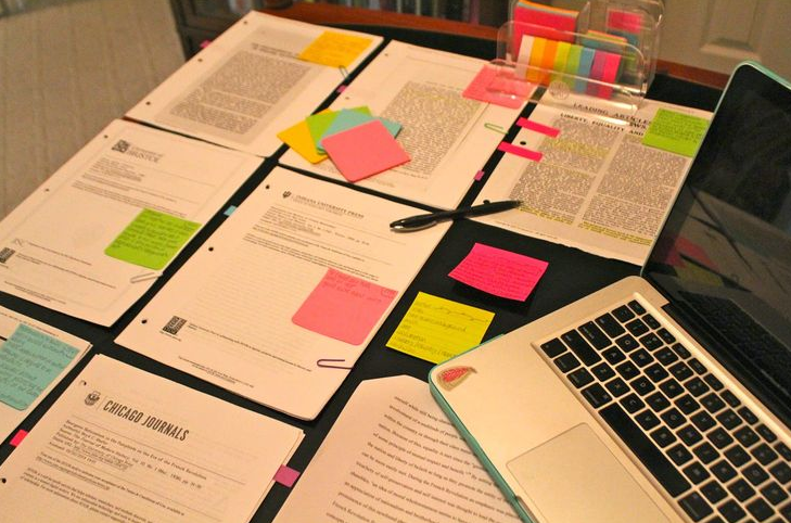 research paper sticky note method