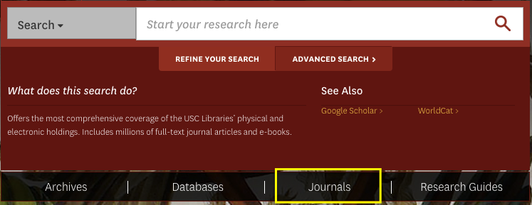 journal search