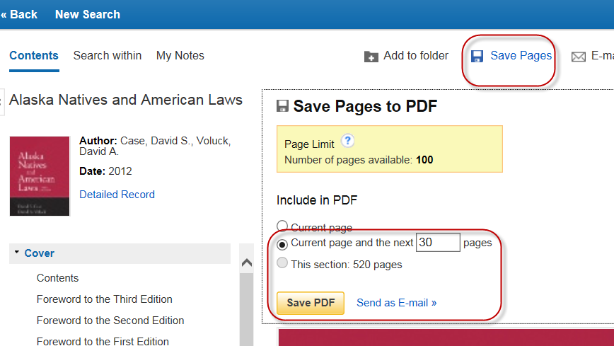 Save pages option in ebook record