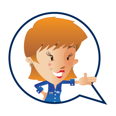 cartoon image of a woman  in UTSA Libraries Blue Crew shirt