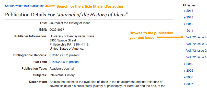 Screenshot of a journal-level page in a library database where you can search or browse by date for the article.