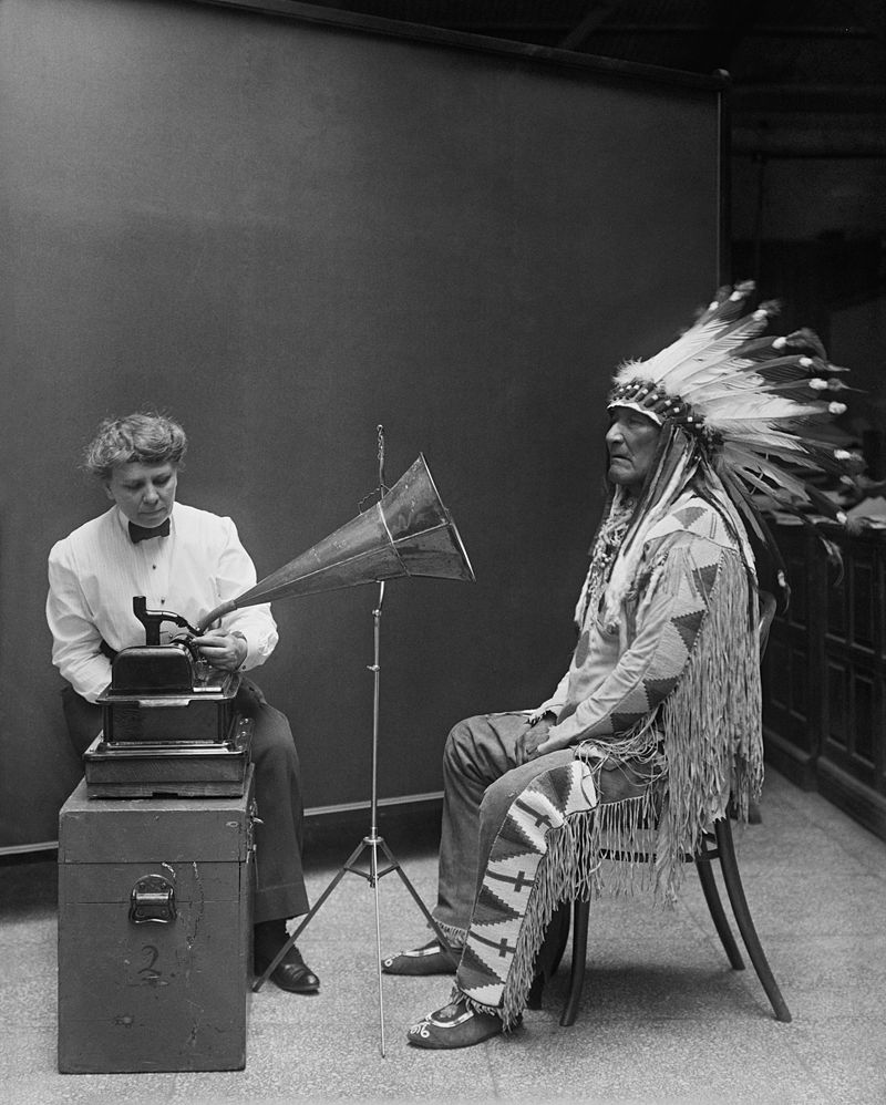 Frances Densmore recording Blackfoot chief Mountain Chief for the Bureau of American Ethnology in 1916