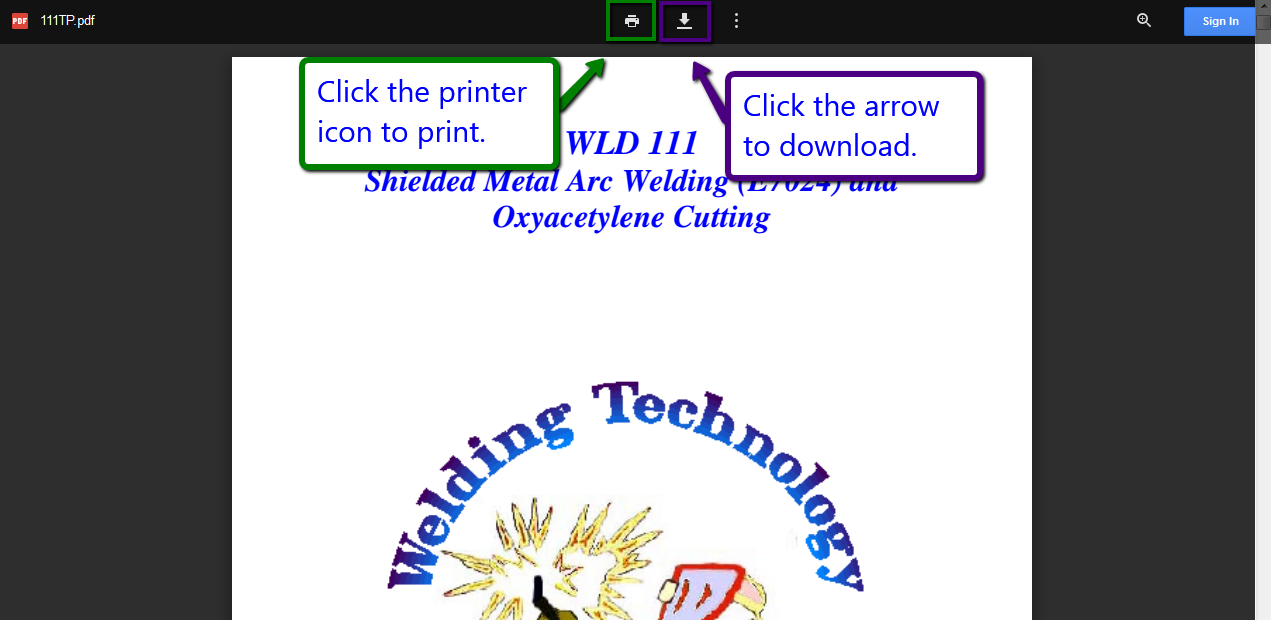 screen shot of example PDF with arrows to the print and download icons