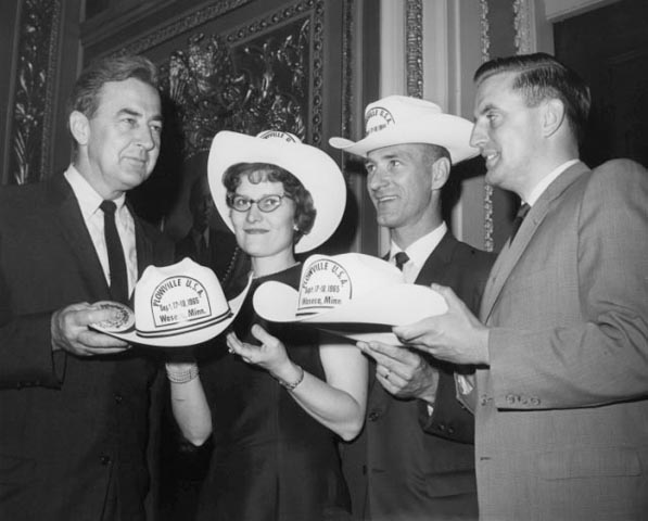 Senators Eugene McCarthy and Walter Mondale of Minnesota pose with constituents Mr. and Mrs. Ray Nakladal of Waseca, Minnesota, 1965.