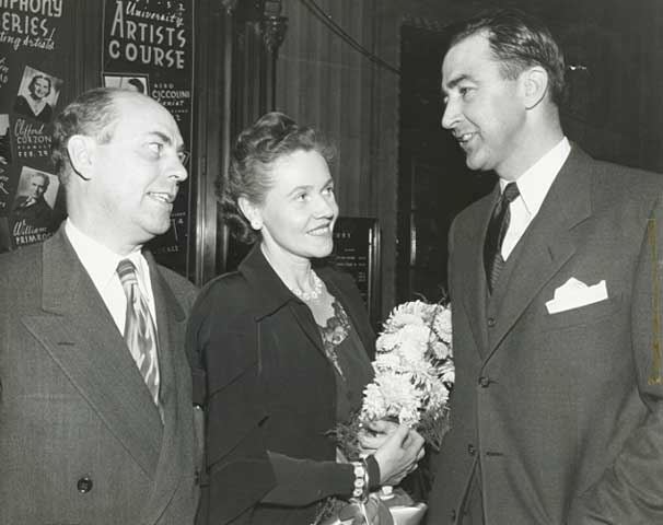 York Langton (left) with Eugenie Anderson (center) and Eugene McCarthy, 1955.