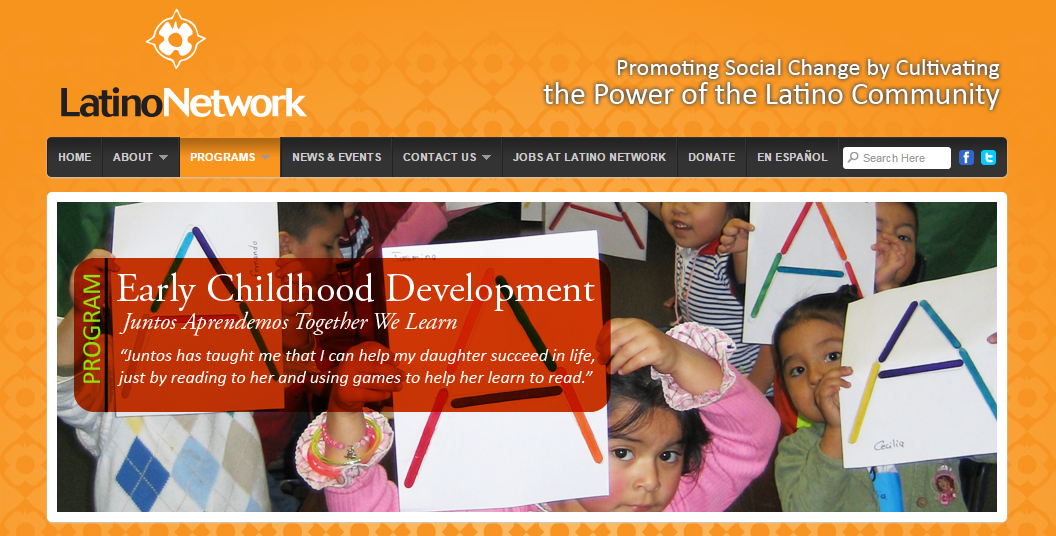 Latino network website homepage image