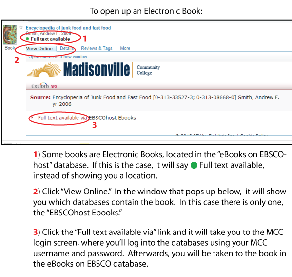 Screenshot showing how to access ebooks in Primo.