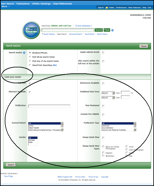 Screenshot of the CINAHL search screen highlighting how to limit your search.