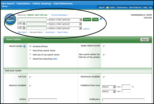 Advanced search options in CINAHL.