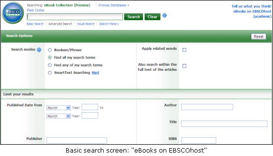 Searching for books in eBooks On EBSCOhost