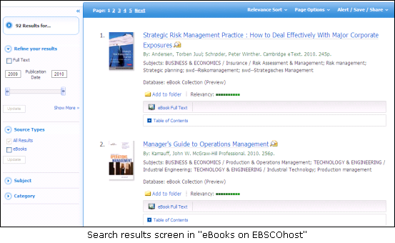 Search results screen in eBooks on EBSCOhost