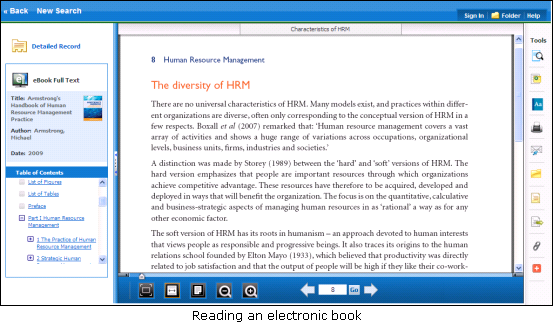 Reading a book in eBooks on EBSCOhost