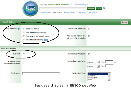 Conducting a basic search in EBSCOhost Web