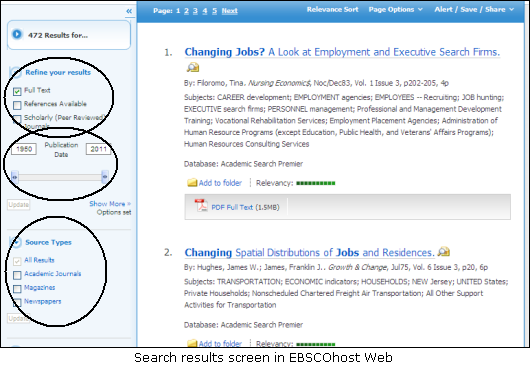 Search results screen in EBSCOhost Web