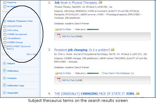 Search facets on the EBSCOhost Web search results page