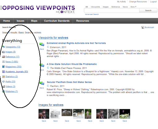 Search results screen in Opposing Viewpoints