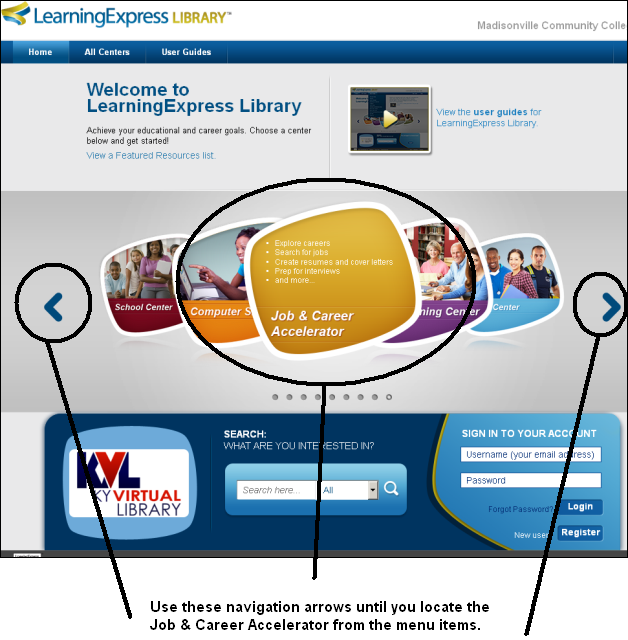 Selecting the Job & Career Accelerator from the menu of LearningExpress Library collections