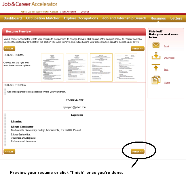 Previewing and saving your resume in the Job & Career Accelerator in LearningExpress Library