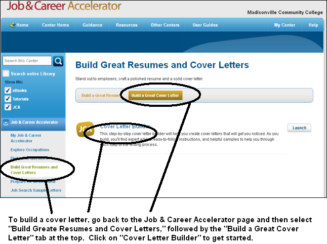 Building a cover letter in the Job & Career Accelerator in LearningExpress Library