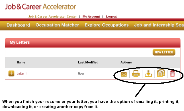 Saving, printing, downloading, and copying your work in Job & Career Accelerator in LearningExpress Library