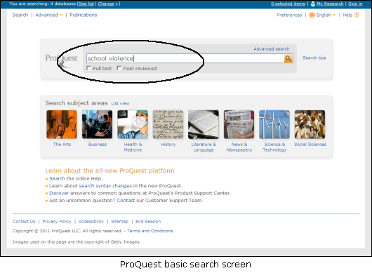 Basic search in ProQuest