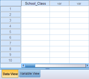 Snapshot of the Data View after initializing a new variable in the Variable View. The header in the first column now displays the variable name School_Class.