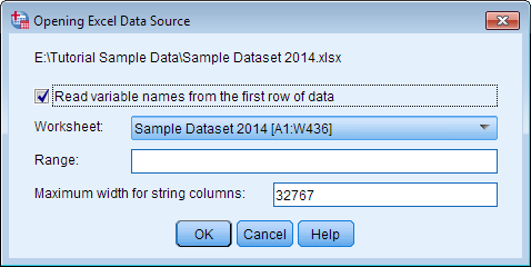 Screenshot of the Opening Excel Data Source window. Read variable names from the first row of data is selected by default.