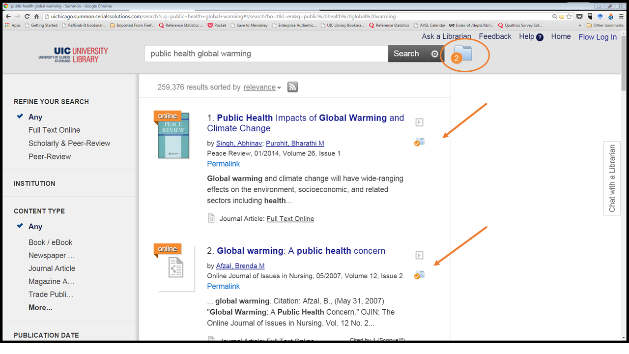 Exporting from UIC library homepage - RefWorks and Other Citation