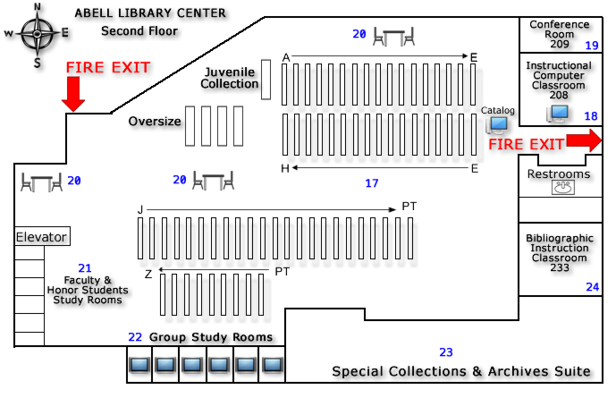 Abell Library Second Floor with fire exits noted