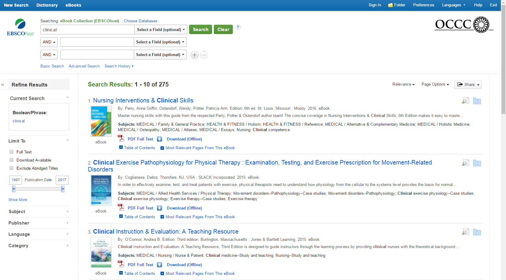 EBSCO eBook search results