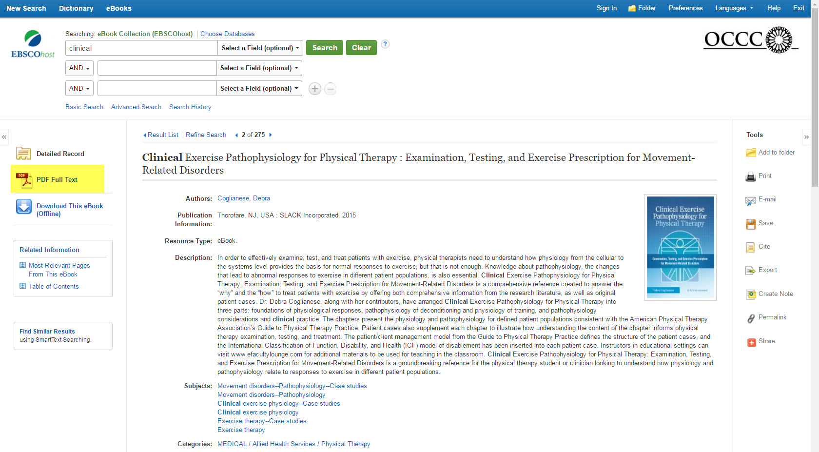 EBSCO eBook detailed record