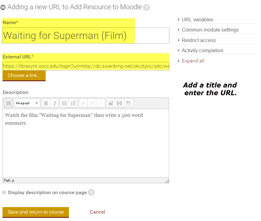 Add link in Moodle: Adding link and description