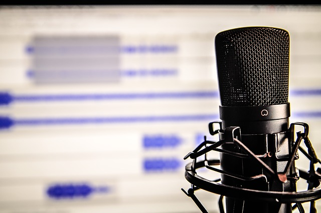 Image of a microphone in front of a computer screen.
