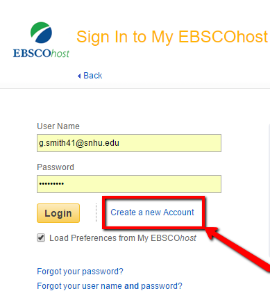 Screenshot of the EBSCO sign in page