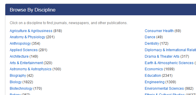 Periodical Finder Browse by Discipline Screenshot