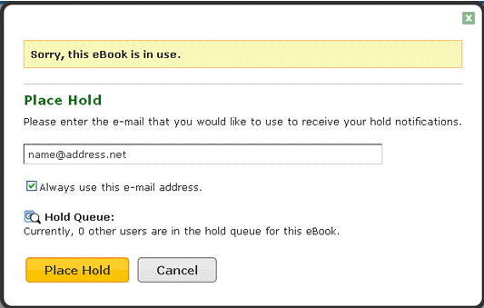 Screenshot of the EBSCO ebook pop up where users can place a hold