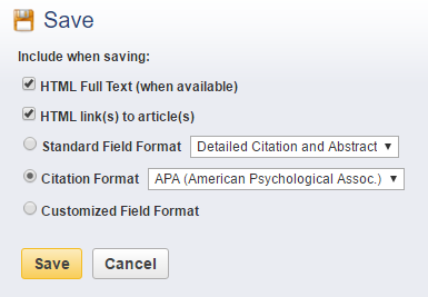 Screenshot of the save box where you can select citation style